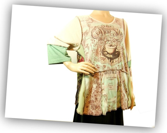 Clothing Tshirt Tunic, Womens graphic Tshirt, Turquoise and brown long tunic, reconstructed shirt