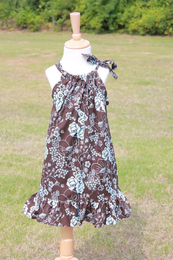 Summer Blowout SALE.....12 Month Ruffled Pillowcase Dress....Brown Floral....Gorgeous
