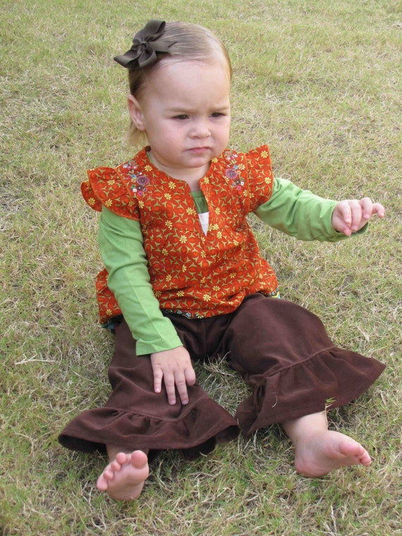 Ruffled Corduroy Pants...Many Colors to choose from