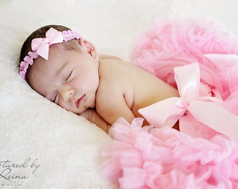Pink Ruffled Newborn Headband...Ready to ship headband...Newborn Props