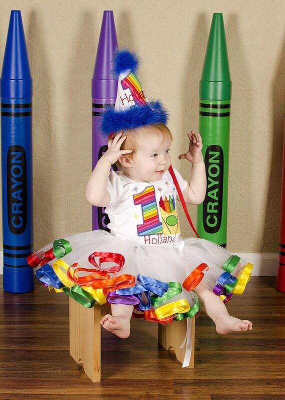 Shirt, Rainbow Crayons Shirt First Birthday...Second Birthday...Third Birthday...Fourth Birthday