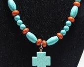 Cross Necklace, Christian Jewelry, Turquoise Cross, Pendent Necklace with Matching Earrings Set