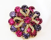 Weiss Purple and Fuchsia Brooch with Pave Icing