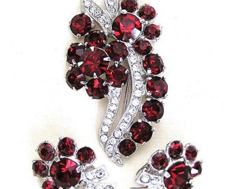 Eisenberg Ice Dark Red and Clear Brooch and Earring Set Demi Parure