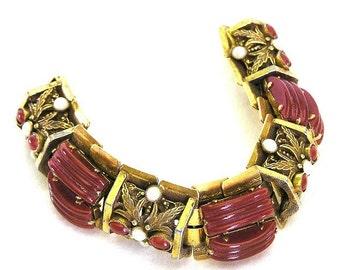 Carnelian Glass and Pearl Bracelet