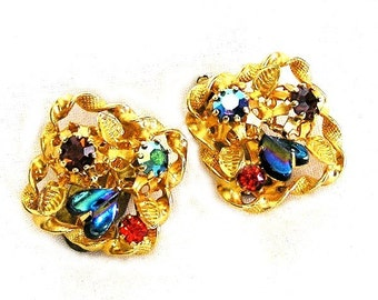 Austria Glass Heart Multi Color Earrings