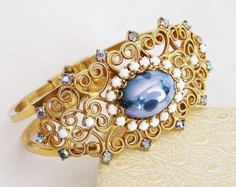 Blue Art Glass Clamper Bracelet, White Milk Glass Accents