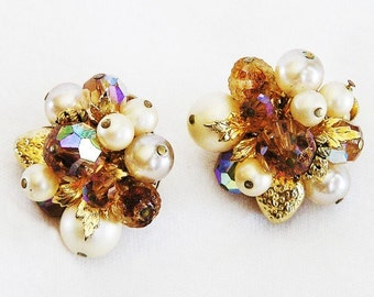 Vendome Topaz AB and Pearl Earrings