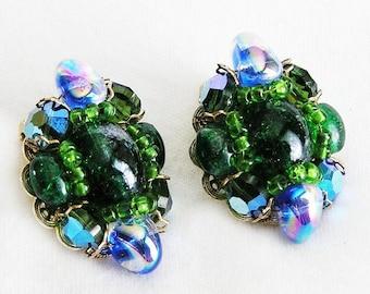 Hobe Green and Blue Iridescent Glass Earrings, Hobe Art Glass Clip Earrings