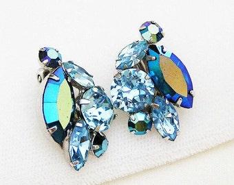 Sherman Blue Aurora Borealis Earrings