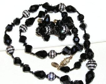 Vendome Black Glass and Rondell Demi Parure