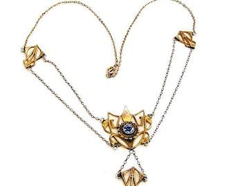 Edwardian Blue Glass Festoon Necklace
