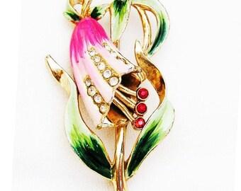 Coro Pink Enamel Bell Flower c.1940