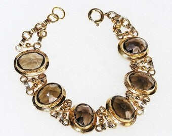 Art Deco Topaz Bracelet 12K Gold Filled Bracelet