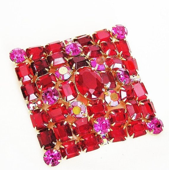 Red and Pink Large Rhinestone Brooch