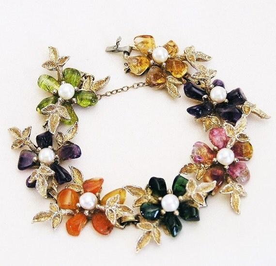 Swoboda Multi Gem Stone Floral Bracelet