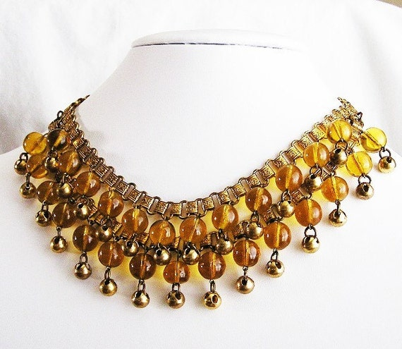 RESERVED Czech Amber Glass Bookchain Necklace