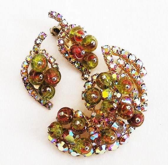 Olive and Amber Art Glass Bead Demi Parure