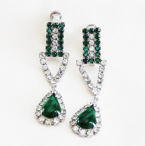 Vendome Green and Clear Dangling Earrings