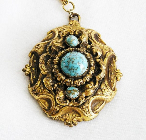 Aqua Glass Cabochon Art Deco Locket
