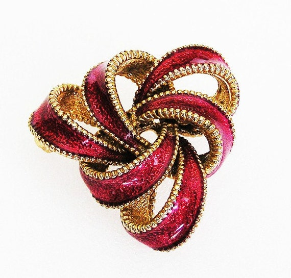 RESERVED Ciner Dark Cranberry Red Looping Bow Brooch