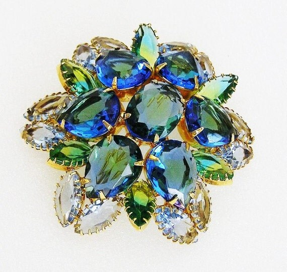 Beautiful Blue Green Glass Stones Domed Brooch
