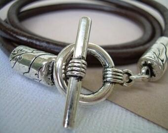 Mens Leather Bracelet Brown Triple Wrap  Urban Survival Gear USA TSB08WRAP