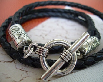 Mens Black Braided Leather Triple Wrap Bracelet, Mens Bracelet, Mens Jewelry