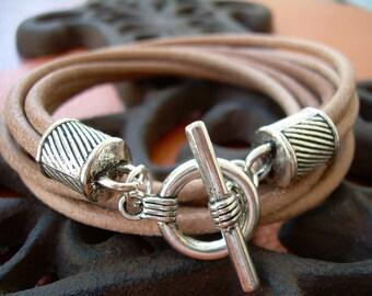 Mens Leather Bracelet, Four Strand Double Wrap, Natural, Mens Bracelet, Mens Jewelry