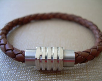 Mens Bracelets Leather,  Bracelet with Magnetic Clasp, Mens Bracelet, Mens Jewelry,  Stainless Steel, Mens Gift, Gift for Him, Bracelet,