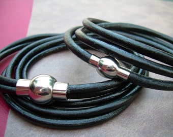 His and Hers Weekend Leather Bracelet Set with Stainless Steel Magnetic Clasp, Leather Bracelet, Womens Bracelet, Mens Bracelet, Wrap