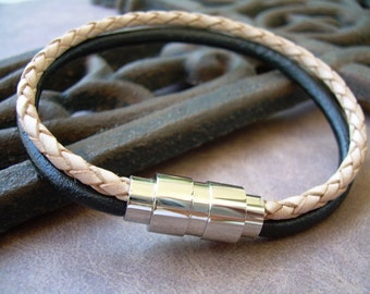 Mens Leather Bracelet, Stainless Steel Magnetic Clasp, Black and Natural Braided, Mens Bracelet, Mens Jewelry