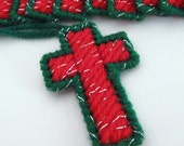Christmas Cross Ornament set of 12 in Red and Green