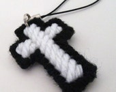 Cross Black and White Charm