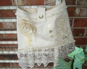 Shabby Chic, Vintage Lace, Embellished, Ruffled , Crocheted Doily, Cream Colored Purse, OOAK