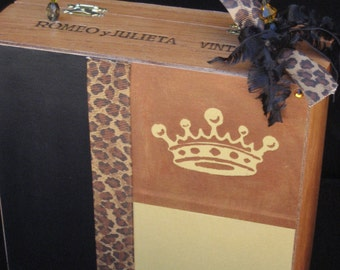 Crown Royalty Purse, Wood Cigar Box Purse, copper, teen girl, trendy handbag, cheetah print