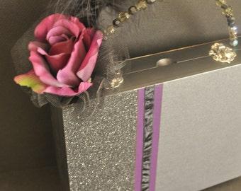 Glamorous Witch Cigar Box Purse, Halloween costume accessory, black and purple, spider web print