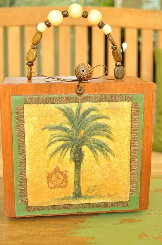 Tropical Palm Cigar Box Purse, Hawaiian Handbag, up-cycled wood cigar box, resort island fashion, Statement handbag