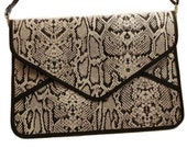 Leather Envelope Clutch Bag / Leather iPad Bag in Black and White