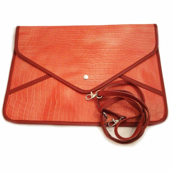 Leather Envelope Clutch Bag / Leather iPad Bag in Peach Red