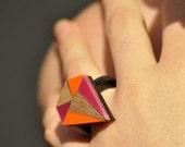 Pink & orange perspex GEOMETRIC DIAMOND RING m/l