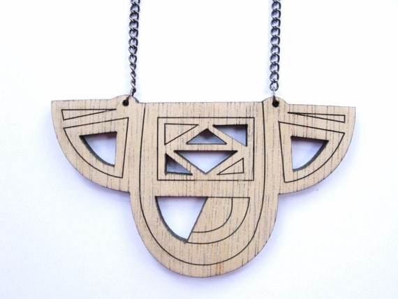 DECO 1 Plywood GEOMETRIC laser etched NECKLACE