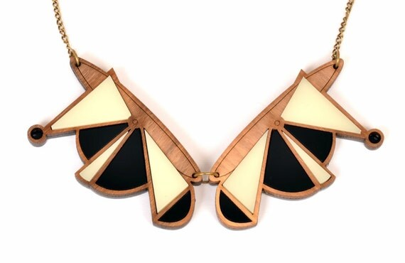 Mixed Media Abstract Collar GEOMETRIC NECKLACE - wood/black