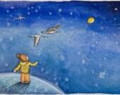Where Do Balloons Go, original watercolor.