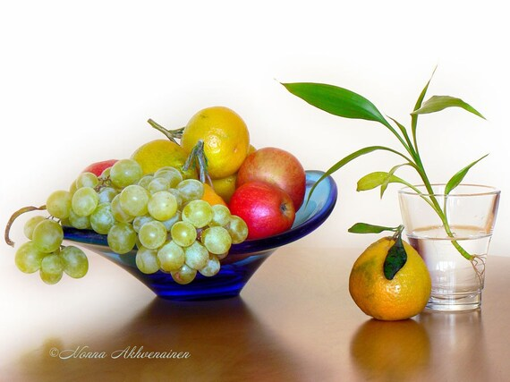 Still Life with Fruits and Bamboo,  8x10  Fine Art Print