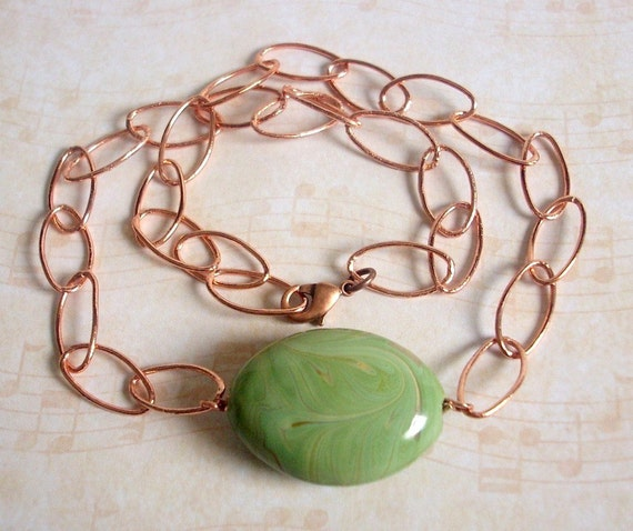 Chunky Copper Chain Necklace with Light Green Painted Porcelain Centerpiece - Enliven
