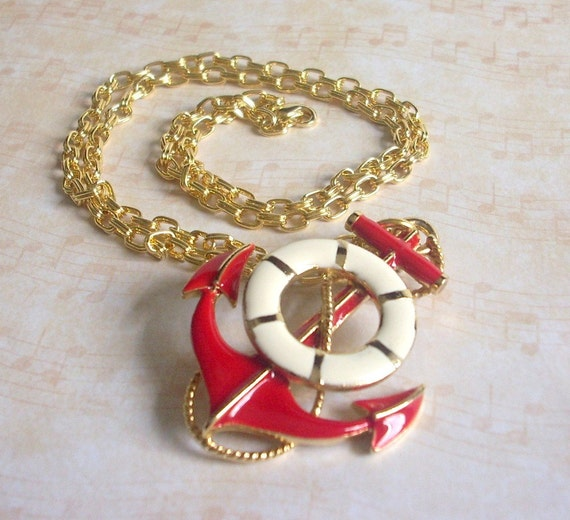 Repurposed Red and Ivory Vintage Anchor Brooch Pendant with Chunky 14K Gold Plated Chain Bold Statement Necklace - Hope