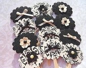 Cupcake Toppers - Set of Ten (10) Black Glitter and Damask Cupcake Toppers - BLTP