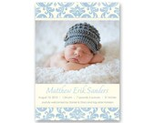 Boy Photo Birth Announcement, Damask - a printable photo card for your newborn baby boy (No. 11001)