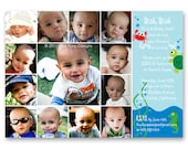 Under the Sea First Birthday Invitation - a photo collage of your baby's first year (No. 21014)